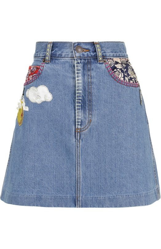 Джинсовая мини-юбка с нашивками Marc Jacobs M4006709