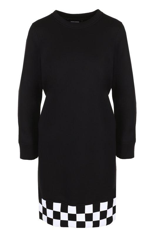 Мини-платье с длинным рукавом и контрастной отделкой Dsquared2 S72CU0480/S22744