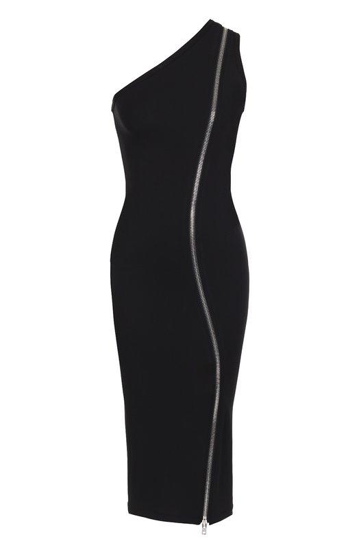 Платье-футляр с декоративной молнией и открытым плечом Givenchy 17U2732433