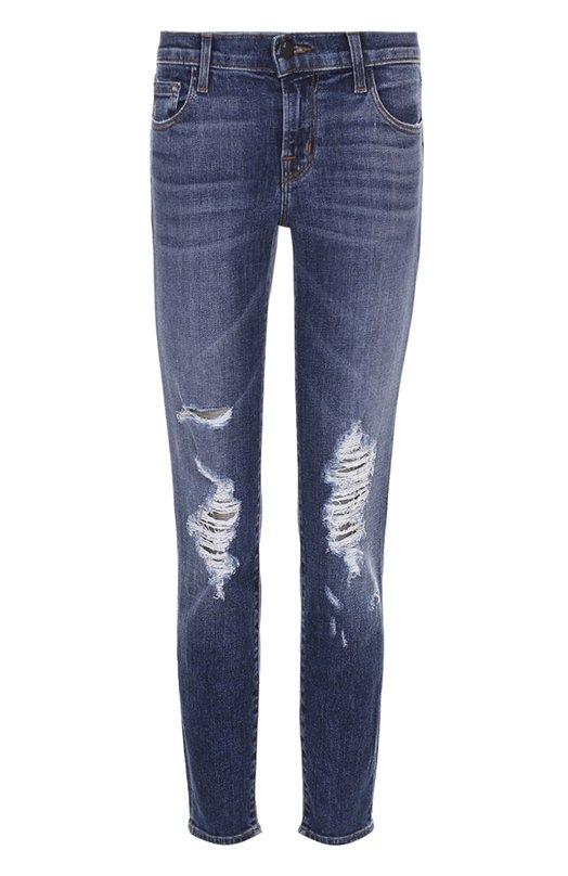 Купить Укороченные джинсы-скинни с потертостями J Brand, JB000837, США, Синий, Хлопок: 98%; Полиуретан: 2%;