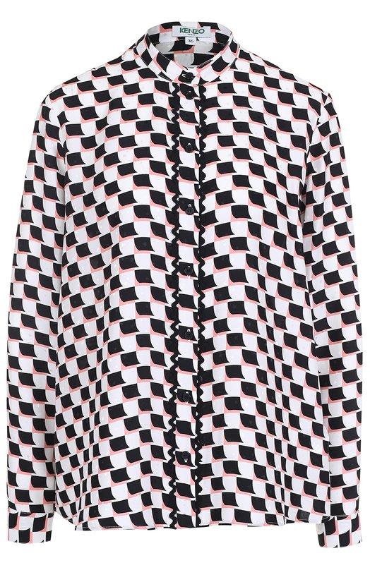 Шелковая блуза свободного кроя с контрастным принтом Kenzo F752CH127531