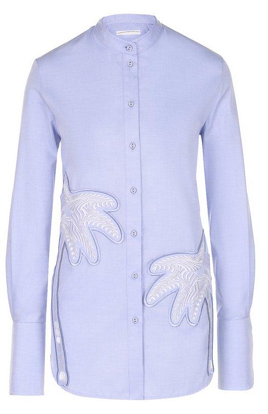 Блуза прямого кроя с воротником-стойкой и декоративной отделкой Victoria by Victoria Beckham SHVV 037 SS17 0XF0RD SHIRTING/EMB