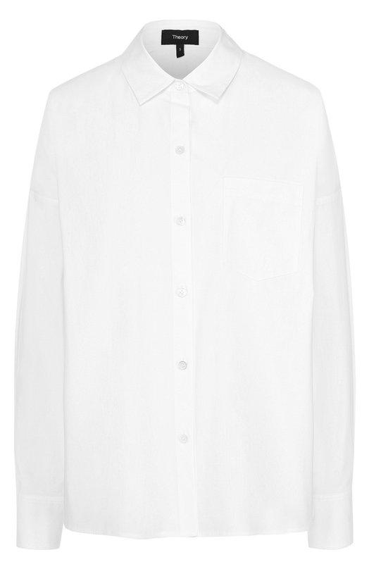Хлопковая блуза свободного кроя с накладным карманом Theory