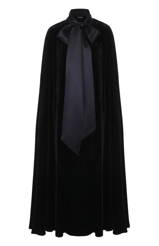 Бархатное пальто свободного кроя с шелковым воротником аскот Dolce & Gabbana 0102/F0R69T/FUVH9