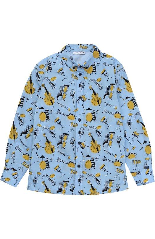 Рубашка из хлопка с принтом и воротником button down Dolce & Gabbana 0131/L41S88/FS52X/8-12