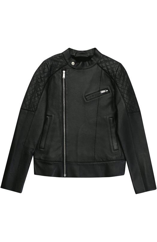 Кожаная куртка с косой молнией Dsquared2 DQ021W/D00M2