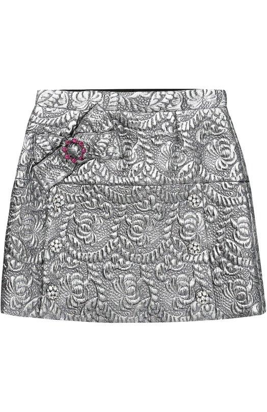 Мини-юбка с металлизированной отделкой и кристаллами Dolce & Gabbana 0131/L52I45/FJMZ3/2-6