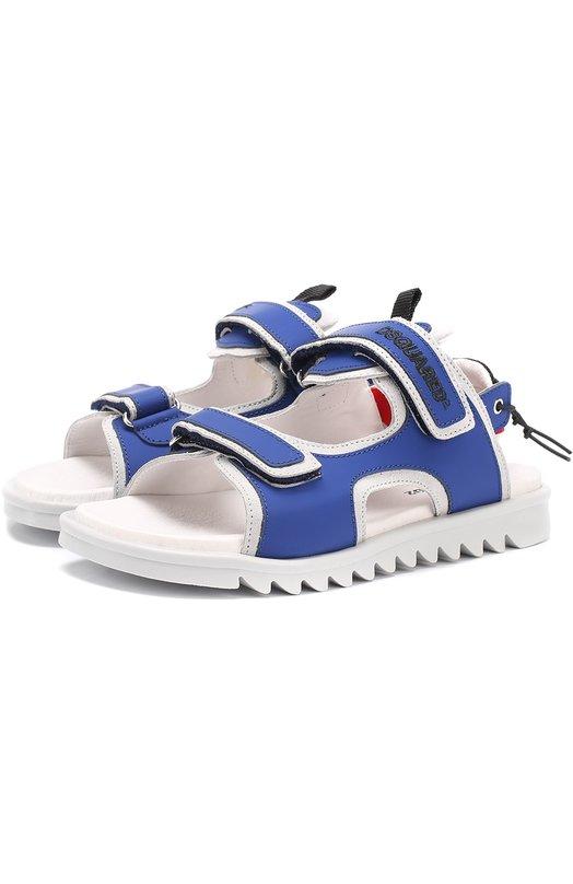 Комбинированные сандалии с застежками велькро и кожаной отделкой Dsquared2 48815/36-41