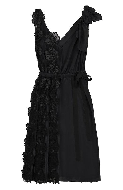 Приталенное платье с плиссировкой и фактурной цветочной отделкой Rochas R0PK502581/RK250100A