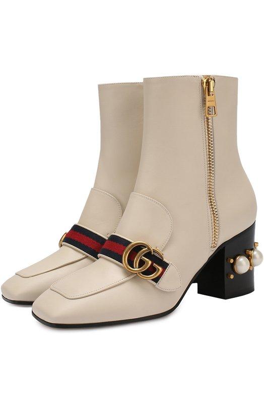 Кожаные полусапоги Peyton с жемчужинами Gucci 432060/DKHC0