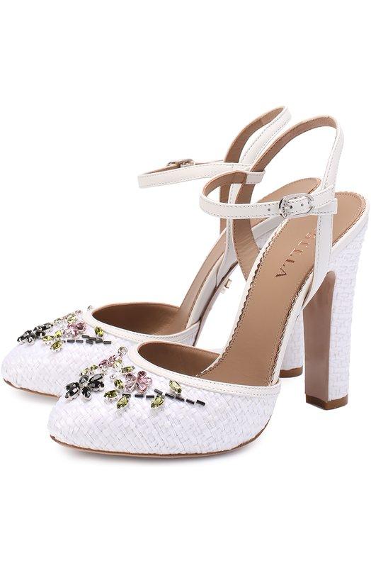 Текстильные туфли с кристаллами на устойчивом каблуке Le Silla J19040/C100J66