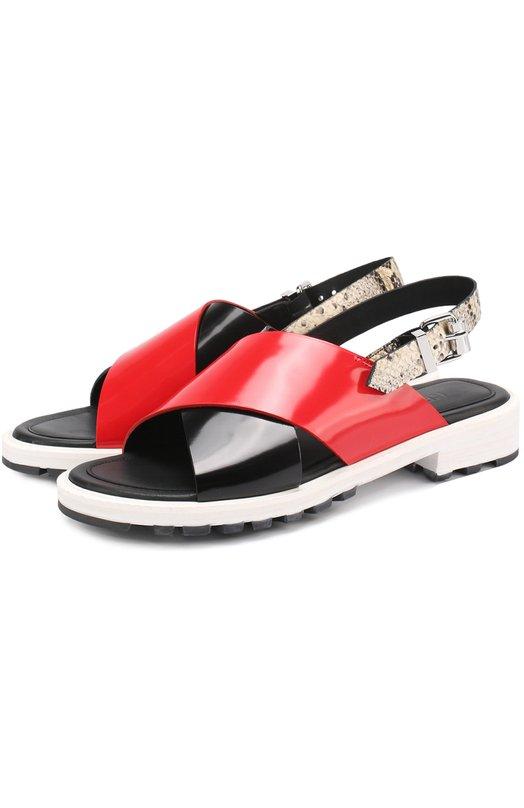 Лаковые сандалии на контрастной подошве Kenzo F752SD233L61
