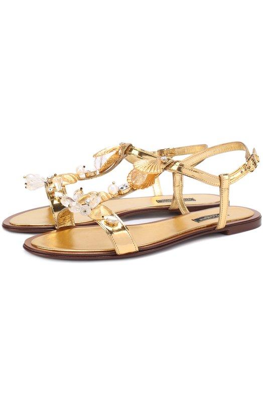 Сандалии Bianca из металлизированной кожи с декором Dolce & Gabbana 0112/CQ0117/AE782