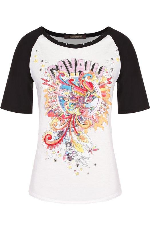 Купить Хлопковая футболка с контрастной отделкой и круглым вырезом Roberto Cavalli, EQR624/JD056, Италия, Белый, Хлопок: 100%;