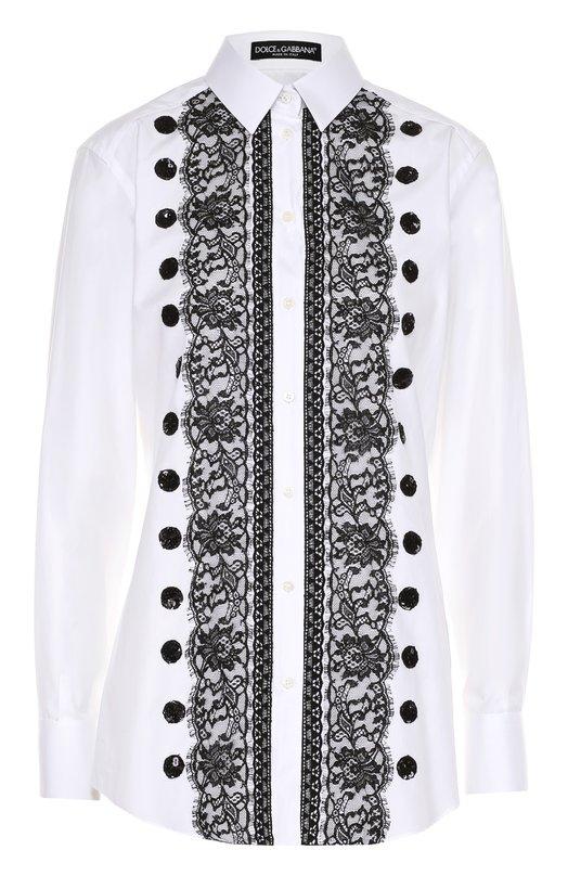 Приталенная хлопковая блуза с контрастной кружевной отделкой Dolce & Gabbana 0102/F5H29T/FU5GK