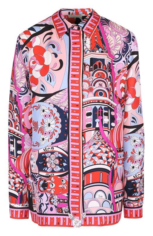 Шелковая блуза прямого кроя с ярким принтом Emilio Pucci 75/RJ12/75807