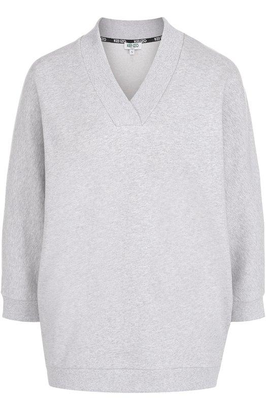 Пуловер с V-образным вырезом и контрастной надписью на спинке Kenzo F752T0704952