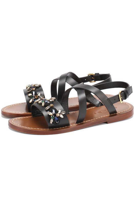 Кожаные сандалии с кристаллами Marni SAMSW46C00LV702