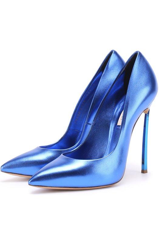 Туфли из металлизированной кожи на шпильке Blade Casadei 1F410D125M/FLAS