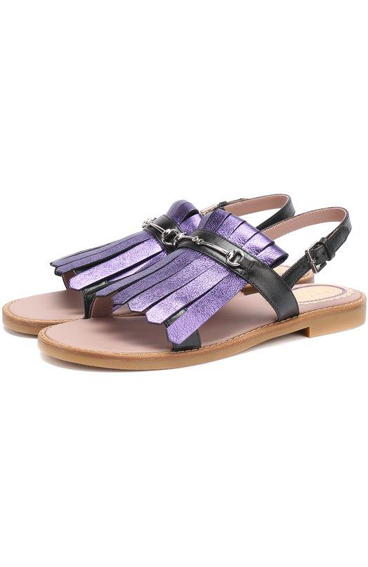 Купить Сандалии из металлизированной кожи с бахромой Gucci Италия 5154110 455387/BMPC0