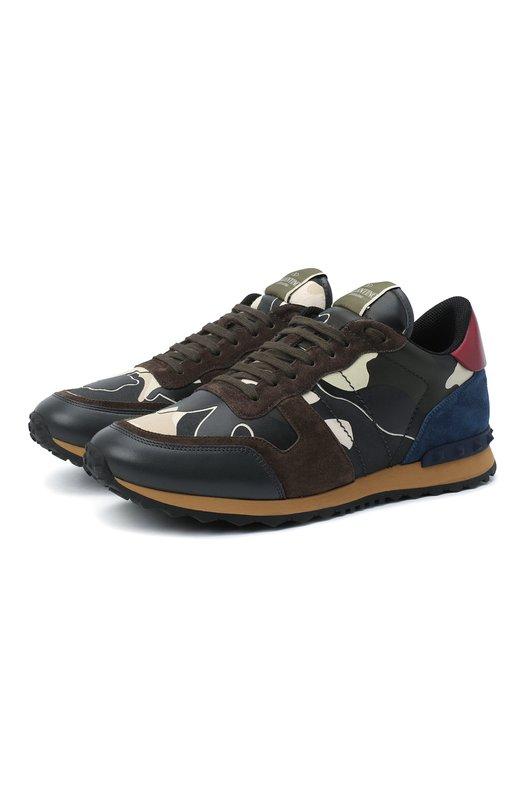 Комбинированные кроссовки Rockrunner с камуфляжным принтом Valentino MY0S0723/TCC