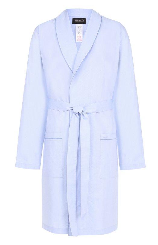 Купить Хлопковый халат с поясом Hanro, 5512, Португалия, Голубой, Хлопок: 100%;