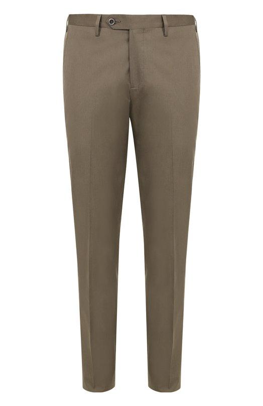 Хлопковые брюки прямого кроя Germano. Цвет: хаки