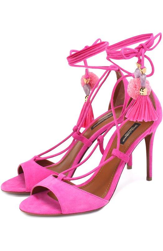 Замшевые босоножки Keira с подвесками Dolce & Gabbana 0112/CR0261/AI124