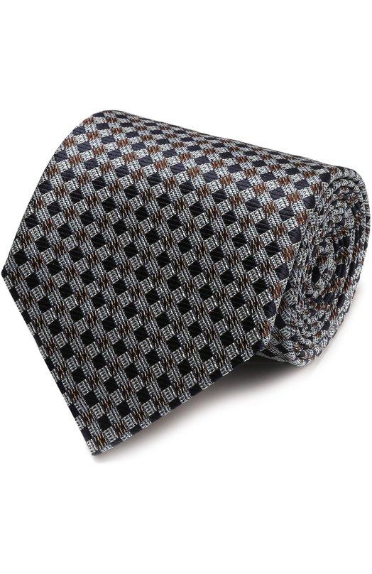 Купить Шелковый галстук с узором Ermenegildo Zegna, Z9E551XW, Италия, Серебряный, Шелк: 100%;