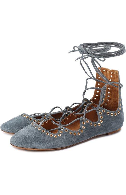 Замшевые балетки на шнуровке Isabel Marant BN0018-17P039S/LE0