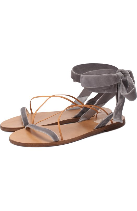 Бархатные сандалии с лентами на щиколотке Valentino MW0S0C59/F0W