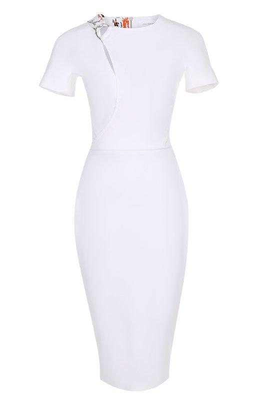 Платье-футляр с коротким рукавом и декоративной отделкой Victoria Beckham DR FIT 6055 MSS17 MICR0BRUSH C0TT0N
