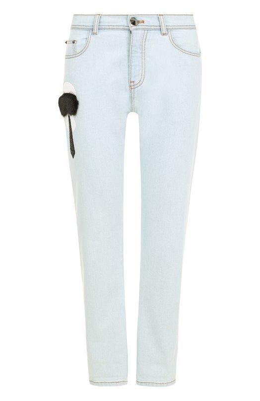 Укороченные джинсы с декоративной отделкой Fendi FLP593/02F