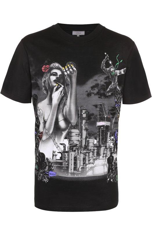 Хлопковая футболка с принтом Lanvin RMJE0035E17
