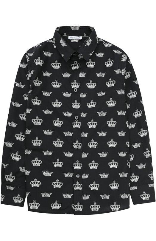 Хлопковая рубашка с принтом Dolce & Gabbana 0131/L41S67/FS5TT/2-6