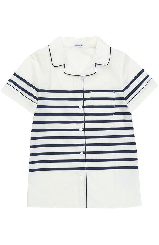 Хлопковая блуза в пижамном стиле с контрастными полосками Dolce & Gabbana 0131/L52S49/HP5AJ/2-6