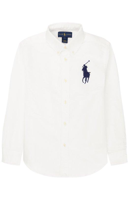 Хлопковая рубашка с воротником button down и логотипом бренда Polo Ralph Lauren K04/XZ70X/XY70X