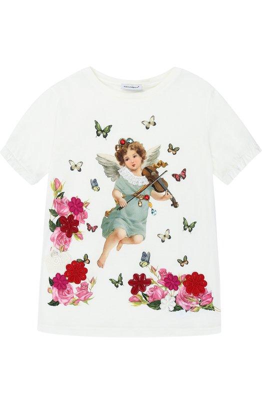 Хлопковая футболка с принтом и аппликациями Dolce & Gabbana 0131/L5JT7R/G7KTX/2-6