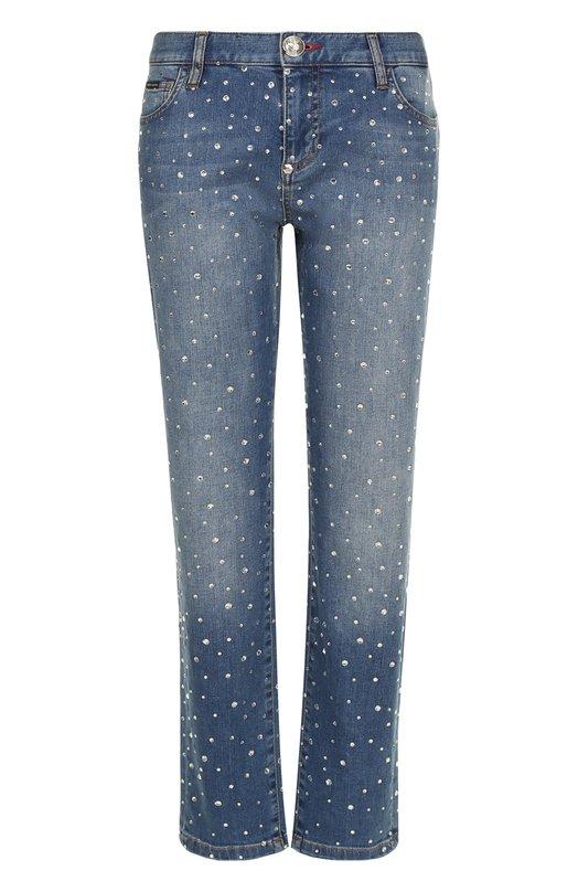 Укороченные джинсы со стразами и потертостями Philipp Plein P17C WDT0206 PDE029N