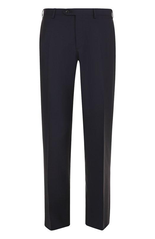 Шерстяные брюки прямого кроя Brioni, RPL2/P3AE0/M0ENA, Италия, Темно-синий, Шерсть овечья: 80%; Мохер: 20%; Подкладка-купра: 100%;  - купить