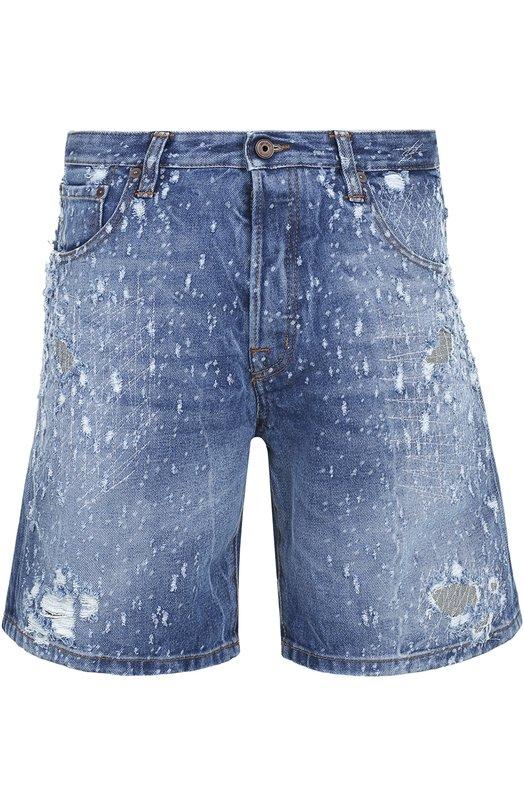 Джинсовые шорты с декоративными потертостями Just Cavalli S03MU0049/N31188