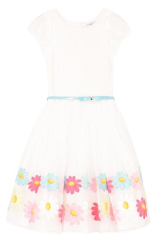 Комбинированное платье с вышивкой и поясом Monnalisa 119926