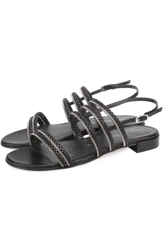 Кожаные сандалии Linedrive с декором Stuart Weitzman LINEDRIVE/NAPPA
