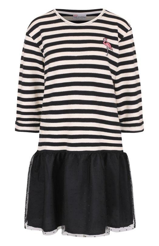 Мини-платье в полосу с кружевной оборкой REDVALENTINO MR0MJ04U/305