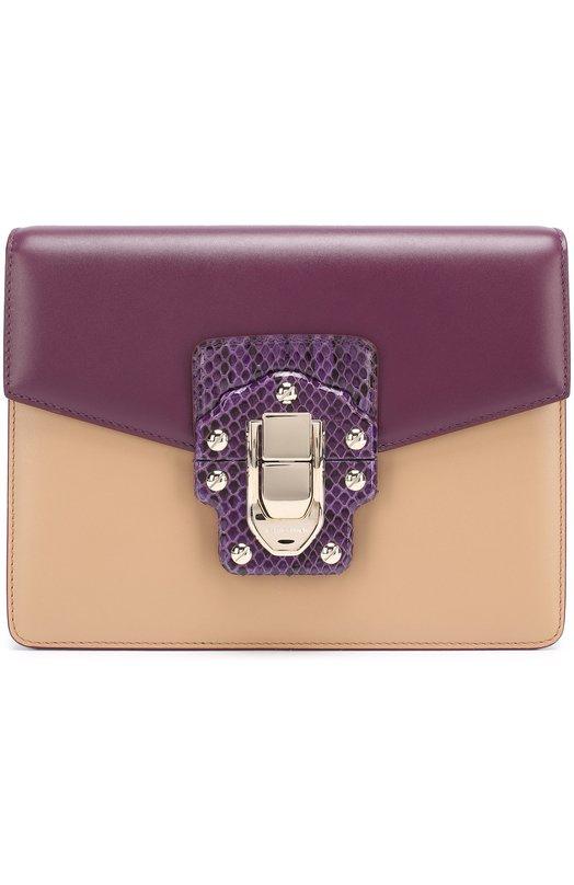 Купить Сумка Lucia с отделкой из кожи питона Dolce & Gabbana, 0116/BB6310/A2054, Италия, Фиолетовый, Кожа натуральная: 100%; Отделка кож./питон/: 100%;