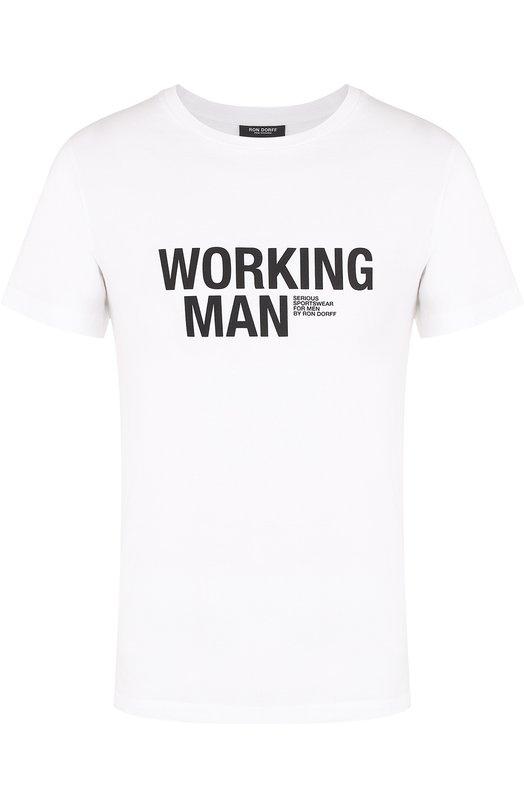 Купить Хлопковая футболка с контрастной надписью Ron Dorff Португалия 5095541 1.16