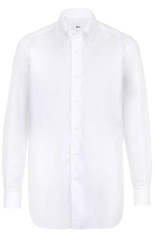 Купить Хлопковая сорочка с воротником button down Brioni, RCL8/P6037, Италия, Белый, Хлопок: 100%;