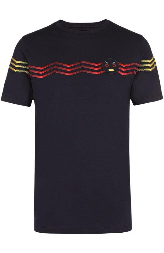 Хлопковая футболка с контрастной вышивкой и отделкой Faces Fendi FY0682/S0D
