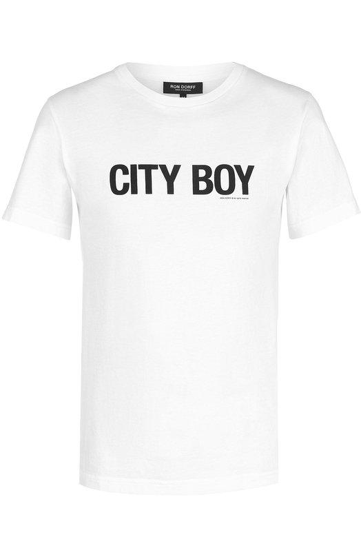 Купить Хлопковая футболка с контрастной надписью Ron Dorff Португалия 5157180 11.42