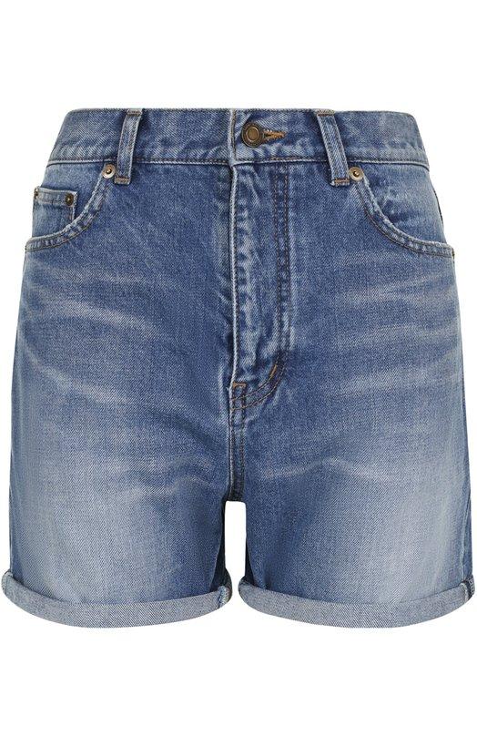 Джинсовые мини-шорты с потертостями Saint Laurent 469091/Y883L